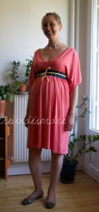 Robe sur mesure pour femme enceinte, avec une ceinture type obi