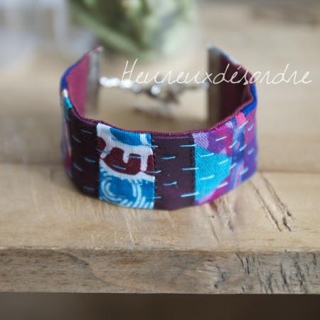 Bracelet patchwork brodé main